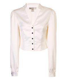 White Patti's Pearl Button-Up Top #zulily #zulilyfinds