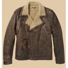 b208998e2a Men s Shearling Aviator Brown Jacket With Fur Brown Leather Jacket Men
