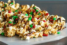 This Carmel Corn is DELICIOUS! I didn't actually put the chocolate and  M&M's on, just used the the recipe to make the Carmel Corn and it was oh so yummy! I'm sure it would be great with the added chocolate an M&M's! :)