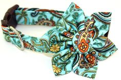 Dog Collar and Flower Set  Turquoise Paisley by CreatureCollars, $26.00