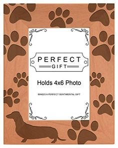Dog Lover Gift Dachshund Weiner Dog Prints Natural Wood Engraved 4x6 Portrait Picture Frame Wood * Check this awesome product by going to the link at the image.