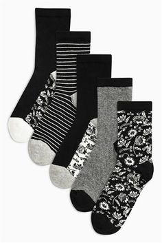 Buy Monochrome Floral Mix Footbed Ankle Socks Five Pack from the Next UK online shop