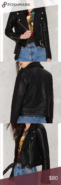 Nasty Gal Vegan Leather Jacket This textured beauty has silver button closures, an asymmetric zip closure, and buckle closure at waist. Padding at interior, fully lined. Zip closures at sleeves. Bought from Nasty Gal Santa Monica location. Worn twice. 💋🐉 Nasty Gal Jackets & Coats