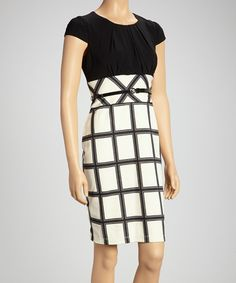 Take a look at this Tiana B Black & Ivory Lattice Belted Empire-Waist Dress on zulily today!