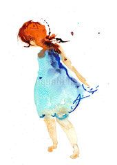"Peinture illustration aquarelle pour décoration ""jolie rouquine"" / watercolor painting ""pretty redhair girl"""