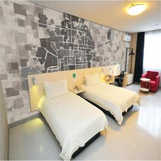 3D Street Map Wallpaper - 64W x 40H inches / Non-woven Paper