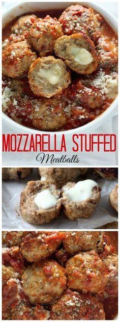 30-Minute Mozzarella Stuffed Turkey Meatballs with Homemade Marinara Sauce - quick, healthy, and SO delicious!