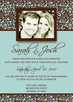 Brown and turquoise wedding invitations.