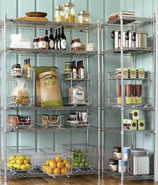 Williams Sonoma Metro Shelving-I dream of an enormous pantry with great shelves. Steel Shelving, Pantry Shelving, Pantry Storage, Wire Shelving, Kitchen Organization, Kitchen Storage, Wire Storage, Basement Storage, Shelving Ideas