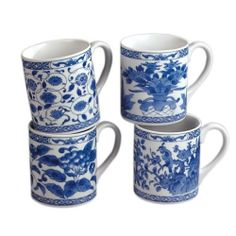 Andrea By Sadek Set 4 Blue Ware Flowers Bird Coffee Mugs 19301 Porcelain China N