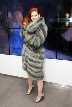 Debra Messing in Dennis Basso fur coat