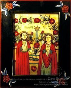 Nașterea Domnului icoană naivă pictată pe dosul sticlei în ulei pictură tradițională lucrare de artă religioasă ortodoxă