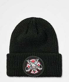 Define your look with the signature Independent x Thrasher Pentagram Black Beanie. Part of the two brand's signature collection, this ribbed knit beanie features a collaborated logo patch located on the front of the fold over cuff. Thrasher Magazine, Black Beanie, Red Hoodie, Signature Collection, Off Colour, Knit Beanie, Two By Two, Fashion Accessories, Buckets
