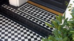 Some worn out steps leading up to a smart Victorian town house were transformed with classic chequerboard tiles. Round edge tiles finish of the step edges. Porch Tile, Porch Flooring, Victorian Tiles, Victorian Decor, Victorian Terrace Interior, Front Door Steps, Front Path, Porches, Terrace House Exterior