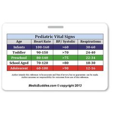 Peds Vital Signs. ID badge, perfect for EMTs, Paramedics, Nurses, and students in Books | eBay