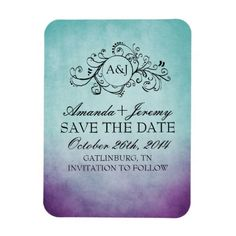 Rustic Purple and Teal Bohemian Save The Date Rectangular Photo Magnet
