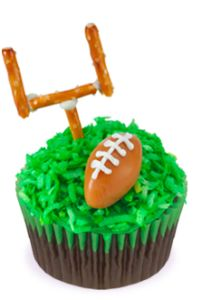 Football cupcake with goal made out of pretzels!