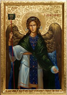 Archangel Gabriel - Orthodox Byzantine Gilded Large icon on wood x Religious Images, Religious Icons, Religious Art, Angel Protector, Jean Paul Ii, Saint Gabriel, Archangel Raphael, Raphael Angel, Angeles