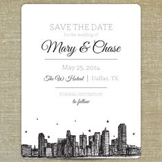 Dallas Skyline Save the Date SAMPLE ONLY by PixieChicago on Etsy, $5.00