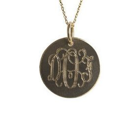 Golden Thread ~ Medium Gold Disc Initial Necklace