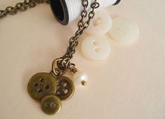 Button Necklace with Pearl Jewelry Seamstress by RhondasTreasures, $17.00