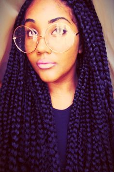 Braids again! Always have loved the appealing & natural look braids can give off! Love how her braids are medium sized and baby hair galore! In love completely! And her glasses are way too nice! on fleek! Marley Twists, Jumbo Braids, Twist Braids, Fishtail Braids, Diy Braids, Long Braids, Braids For Black Women, Black Braids, Protective Hairstyles