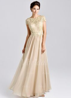 Mother of the Bride Dresses - $135.32 - A-Line/Princess Scoop Neck Floor-Length Chiffon Lace Mother of the Bride Dress With Ruffle Lace Beading (0085059615)