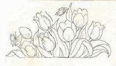 desenho de tulipas e borboletas para pintar