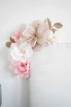Tissue Paper Flower Wall Decor - DOMESTIC HEIGHTS how to make paper flowers for nursery, paper flower wall decor bedroom, all decoration with paper flowers by step by step how to attach paper flowers to wall How To Make Paper Flowers, Large Paper Flowers, Tissue Paper Flowers, Paper Flower Wall, Flower Wall Decor, Diy Flowers, Flower Decoration, Handmade Flowers, Large Paper Flower Template