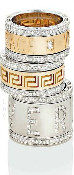 VERSACE,White e Yellow Gold Rings with Diamonds