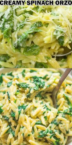 This Creamy Spinach Orzo makes a perfect side dish or even a full meal. It's cheesy, creamy, and kids are crazy about it. Ready in 15 minutes! Pasta Side Dishes, Pasta Sides, Dinner Side Dishes, Dinner Sides, Food Dishes, Creamy Pasta Dishes, Fish Side Dishes, Side Dishes For Burgers, Chicken Side Dishes