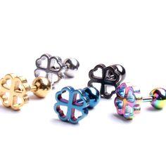 Plug Tunnel Jewelry 7mm Stainless Steel Stud Earrings Four Leaf Clover Earrings lucky clover Stud Earring #Affiliate