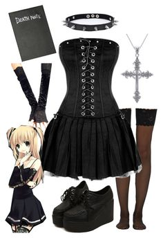 misa amane; death note by lostfangirl on Polyvore featuring polyvore, fashion, style, Wolford, Trend Cool, Carolina Glamour Collection and Elysiacosplays