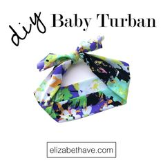 Easy Baby Turban Tutorial | One stitch sewing tutorial for baby or adult knit headbands. Learn how to cut the fabric to just the right shape and size with this DIY project. | www.elizabethave.com
