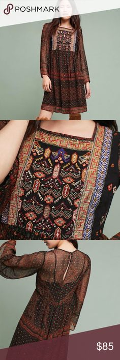 Munro Embroidered Dress New with tags. This dress is missing it's slip! Anthropologie Dresses