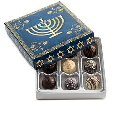 Hanukkah Gift, Happy Hanukkah, Gourmet Assorted Chocolate Truffles Chanukah Menora Gift Box Benevelo Gifts. Ideal Gift to give to celebrate the Joyous Festival of Hanukkah!  http://www.amazon.com/dp/B018F2E7ZS/ref=cm_sw_r_pi_dp_qCpzwb1SBY52W