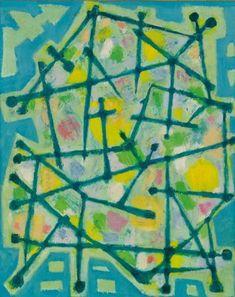Alfred Manessier(France, 1911-1993), Blue-Green Lines on Aqua Background, 1953
