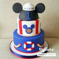 Nautical Mickey, Mickey And Minnie Cake, Mickey Mouse First Birthday, Baby Boy 1st Birthday Party, Nautical Party, Disney Mickey Mouse, Birthday Decorations, First Birthdays, Cakes