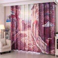 The dark purple unique curtain can create a dreamy and gorgeous environment, which just look like an art work. Tall Curtains, Unique Curtains, Closet Curtains, Colorful Curtains, Curtain Patterns, Purple Pattern, Decorate Your Room, Pattern Making, Dark Purple