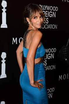Halle Berry booty in a blue curve hugging dress
