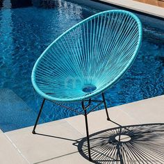 Acapulco Chair Replica - Outdoor Wicker - Light Blue - I want these for my pool area!