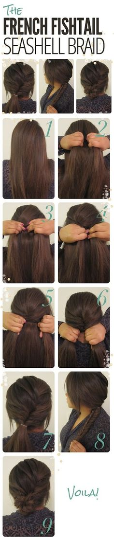 easy low bun/braid you can keep it in the 7th step and add a ribbon to your pony tail or go all the way to the 9th step for a messy bun effect.