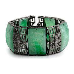 Bochic Green carved jade and diamond bracelet