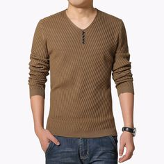 2017 Autumn Winter New Arrival Mens Sweater Fashion V Neck Solid Pullover Sweater Men Casual Slim Fit Knitted Mens Pullovers 5XL #Affiliate