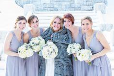 Gorgeous soft purple bridesmaids dresses for a Winter wedding