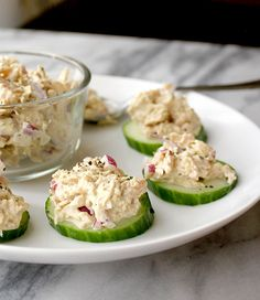 Tuna Salad Cucumber Bites - Healing and Eating Made with a homemade coconut oil mayo #paleo #dairyfree #glutenfree