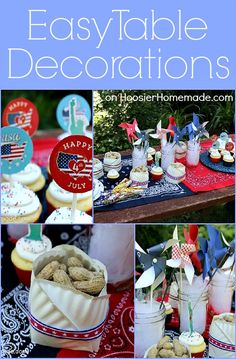 Easy Table Decorations : Summer Entertaining :: on HoosierHomemade.com