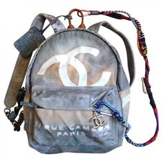 Grey Cotton Backpack CHANEL ($4,430) ❤ liked on Polyvore featuring bags, backpacks, accessories, chanel, grey backpack, gray bag, cotton backpack, knapsack bag and cotton bags