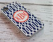 iPhone 6/6+/5c/5s/5/4s/4 and Galaxy 4/5 cover - trellis pattern in custom colors with monogram or name