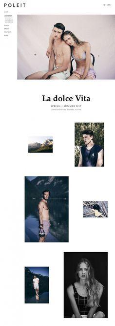 POLEIT Swimwear - Mindsparkle Mag - POLEIT is a menswear swimwear fashion brand based in Vienna whose beautiful website is awarded as site o Web Portfolio, Portfolio Design, Clean Websites, Lookbook Layout, Digital Web, Site Design, App Design, Layout Design, Buch Design